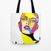 model Tote Bags featuring Model by Floridana Oana