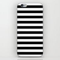 stripes iPhone & iPod Skins featuring Horizontal Stripes (Black/White) by 10813 Apparel