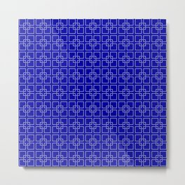 Dark Earth Blue and White Interlocking Square Pattern Metal Print