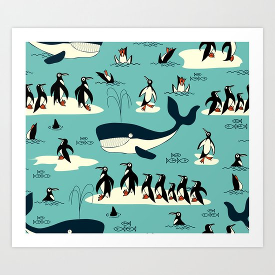 Whales and penguins Art Print