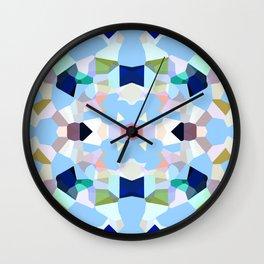 Gemstones in Kaleidoscope on Sky Blue Wall Clock