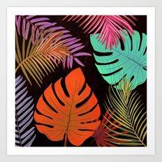 TROPICAL LEAVES & BLACK no2 Art Print