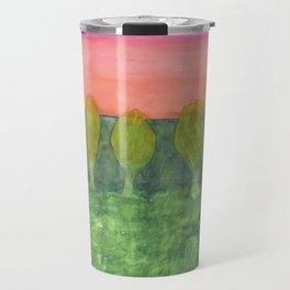 Trees, Green and Evening Sky Travel Mug