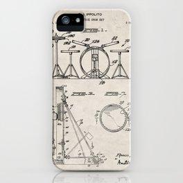Drum Set Patent - Drummer Art - Antique iPhone Case