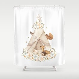 Spring Teepee Shower Curtain