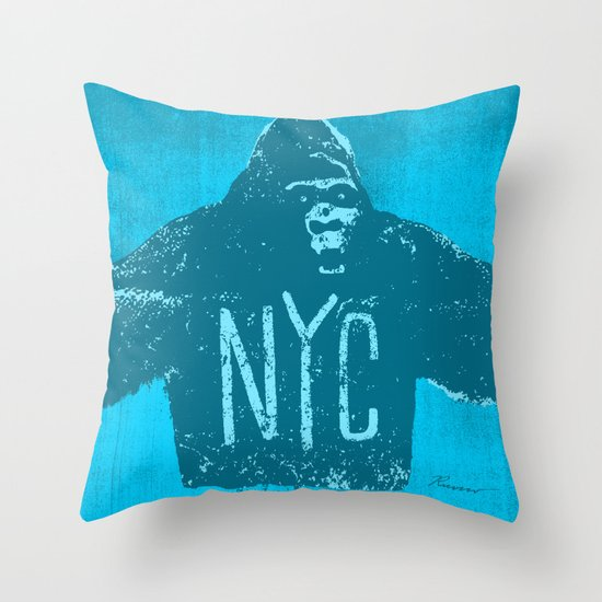 Gorilla NYC Throw Pillow
