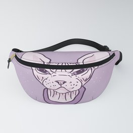 Lilac Point Seal Grumply Wrinkly Sphynx Kitty - Hairless Cat Illustration - Bad Cattitude - Line Tattoo Art Fanny Pack