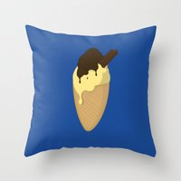 ice cream Throw Pillows featuring Ice-Cream by Shyam13