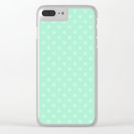 White on Magic Mint Green Snowflakes Clear iPhone Case
