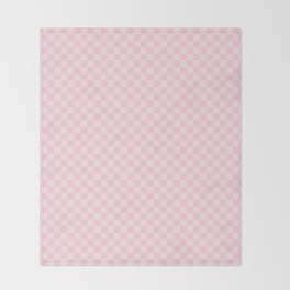 Light Soft Pastel Pink Checkerboard Chess Squares Throw Blanket