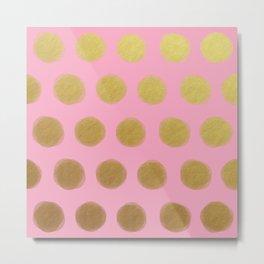 painted polka dots - pink and gold Metal Print
