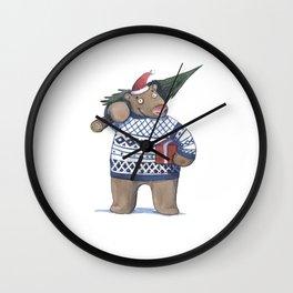 Bear with new year tree Wall Clock