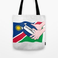 rugby Tote Bags featuring Rugby Namibia by mailboxdisco