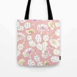 Modern white gold blush pink catus floral Tote Bag