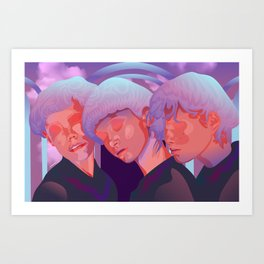 Reverie // Daydream: Three girls with closed eyes, purple, lila, pink color palette Art Print
