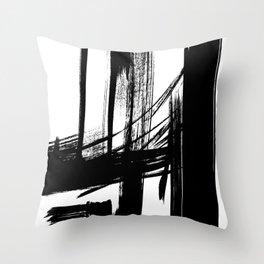 Black Abstract Brush Strokes nr 7 Throw Pillow