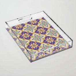 Colorful mediterranean tile Acrylic Tray