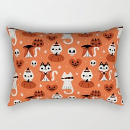 Halloween Kitties (Orange) Rectangular Pillow