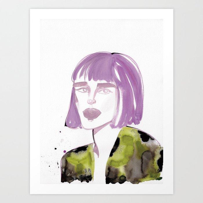 Joe with purple hair Art Print