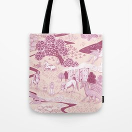 Mythical Creatures Toile in Peachy Pink Raspberry colors Tote Bag