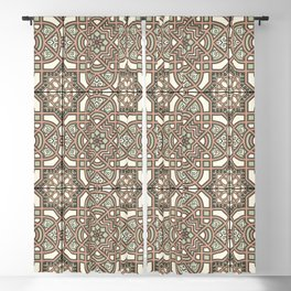 Ornamental Scroll Pattern Earthen Trail, Melon Green, Dover White & Ever Classic Gray Blackout Curtain