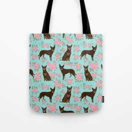 Kelpie florals dog breed cute gifts pattern dog lover pet portraits pet friendly designs Tote Bag