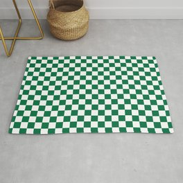 White and Cadmium Green Checkerboard Rug