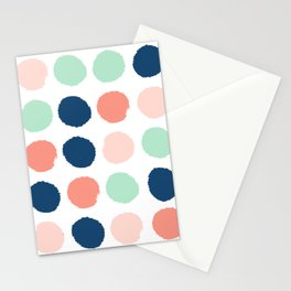 Polka dots abstract dotted pattern brushstrokes paint brush marks abstract trendy colors Stationery Cards
