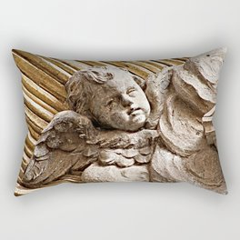 Baroque Marble Baby Angel  Sculpture Rome Italy Rectangular Pillow