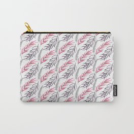 Hand painted pink gray watercolor modern leaves Carry-All Pouch