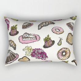cakes donuts and fruits Rectangular Pillow
