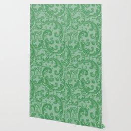 Retro Chic Swirl Green Wallpaper