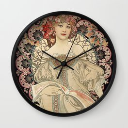 Alphonse Mucha - Vintage Advertisement Poster for F. Champenois, Printer & Publisher (1898) Wall Clock
