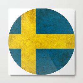 Sweden flag, circle Metal Print