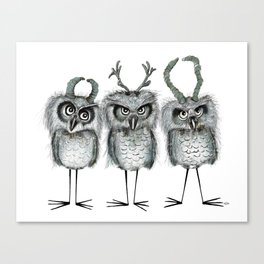 Owls with Horns Canvas Print