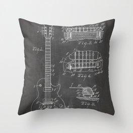 Gibson Guitar Patent - Les Paul Guitar Art - Black Chalkboard Throw Pillow