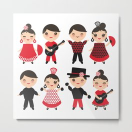 Spanish flamenco dancer. Kawaii cute face with pink cheeks and winking eyes. Gipsy Metal Print