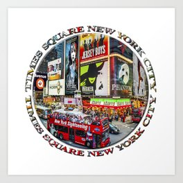 Times Square New York City Badge Art Print