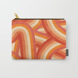 Red, Orange and Cream 70's Style Rainbow Stripes Carry-All Pouch