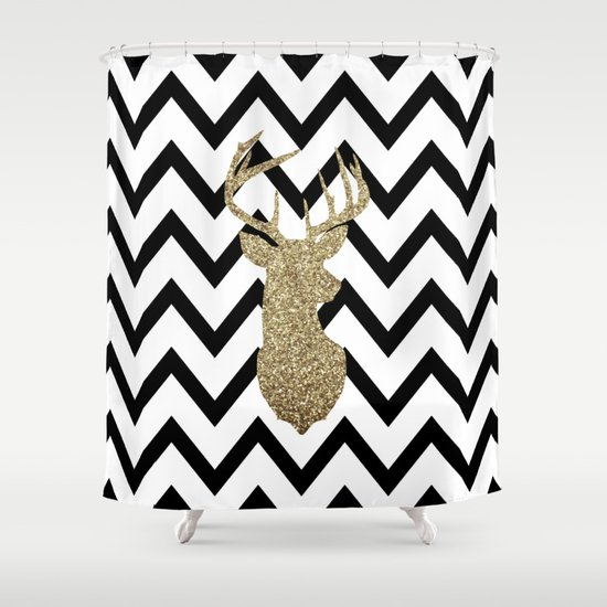 Glitter Deer Silhouette with Chevron Shower Curtain by Dani | Society6