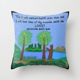 Jeremiah 30:17, KJV Throw Pillow