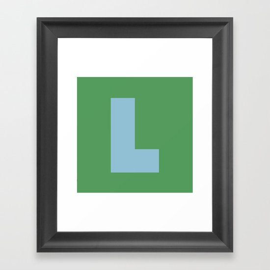 Light Blue L Framed Art Print