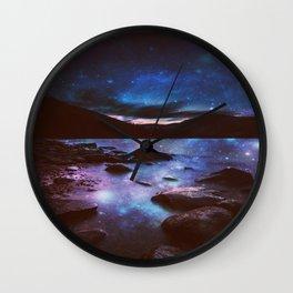 Magical Mountain Lake Deep Cool Tone Wall Clock