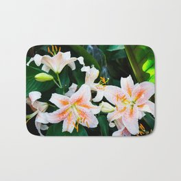 lilies and leaves Bath Mat