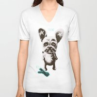 foo fighters V-neck T-shirts featuring FOO FOO FRENCHIE with Pet Bunny by Haus Of Lelu