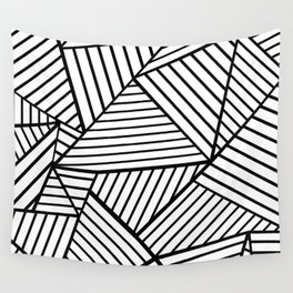 Abstraction Lines Close Up Black and White Wall Tapestry