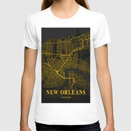 New Orleans Louisiana City Map | Gold American City Street Map | United States Cities Maps T-shirt