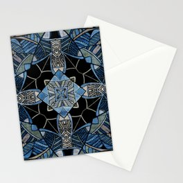 blue symmetric fantasy pattern IV Stationery Cards
