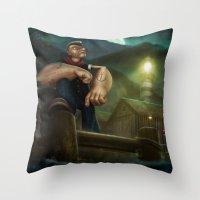 popeye Throw Pillows featuring Popeye by Geison Araujo