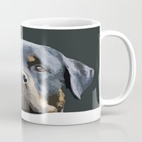 rottweiler Mugs featuring Rottweiler Portrait Vector by taiche